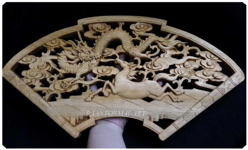 แผ่นไม้แกะสลักศิลปะจีน ม้ากับมังกร