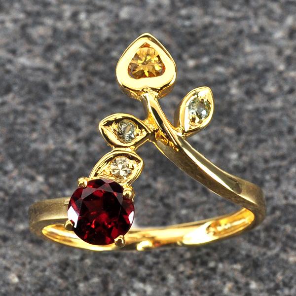 แหวนพลอยโกเมน ประดับบุษราคัม ตัวเรือนทองแท้