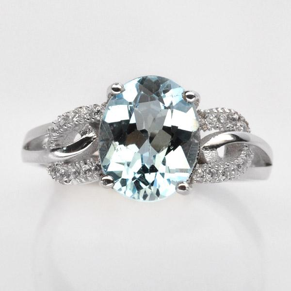 แหวนพลอยแท้ แหวนเงิน925 พลอยแท้สวิสบลูโทปาส ประดับเพชร CZ ชุบทองคำขาว
