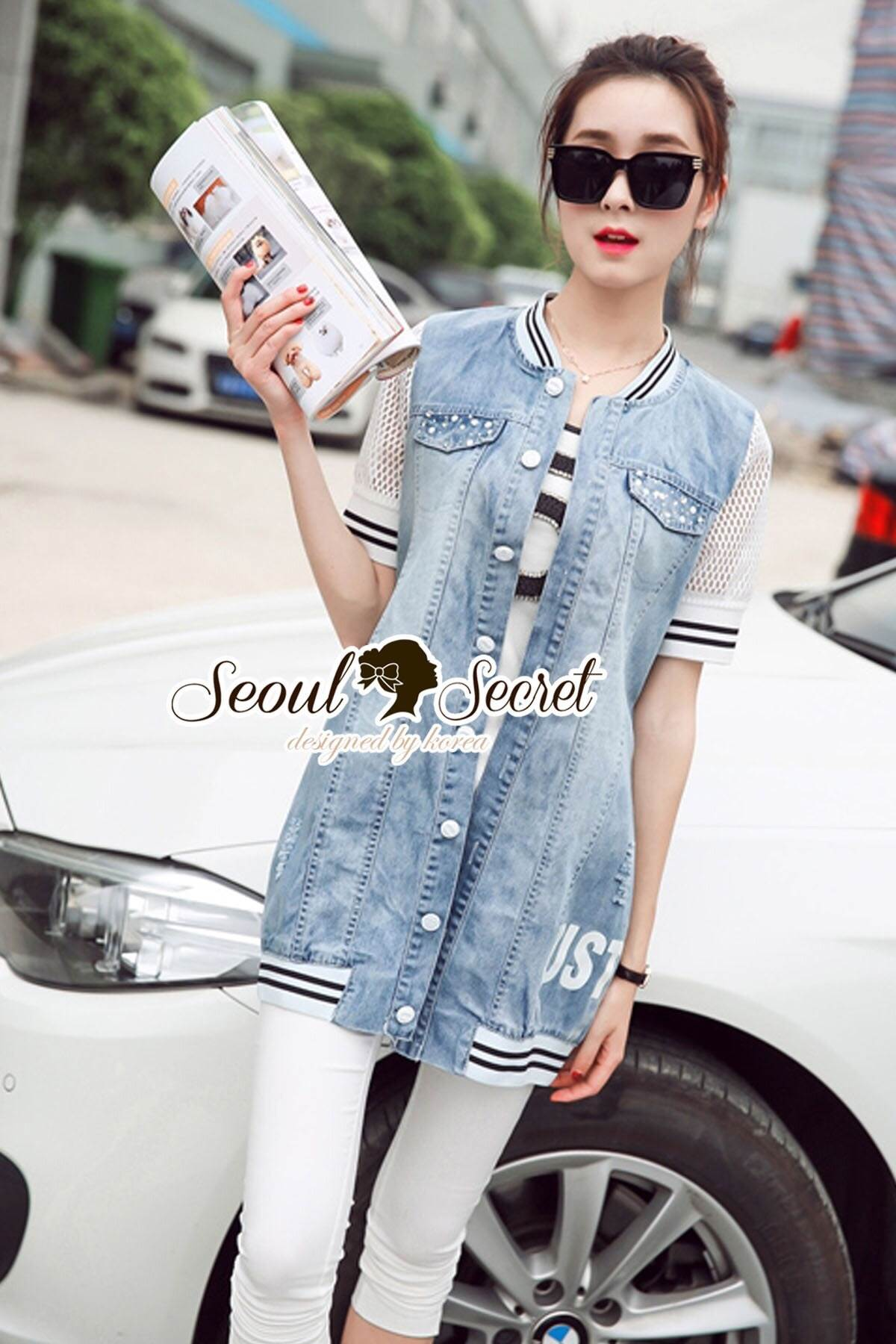 Seoul Secret Say's... Mic Net Sleeve Shirt Outer DRess