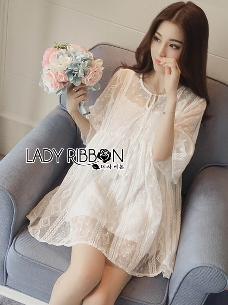 &#x1F380 Lady Ribbon's Made &#x1F380 Lady Blake Sweet Pure White Embroidered Organza Dress with Tassel