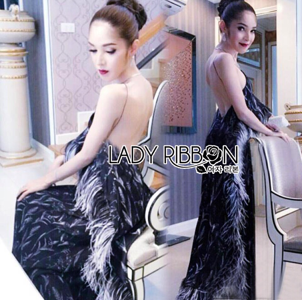 Lady Ribbon Korea LR10230516 &#x1F380 Lady Ribbon's Made &#x1F380 Lady Klara Colourful Mini Floral Embroidered Black Tulle Maxi Dress