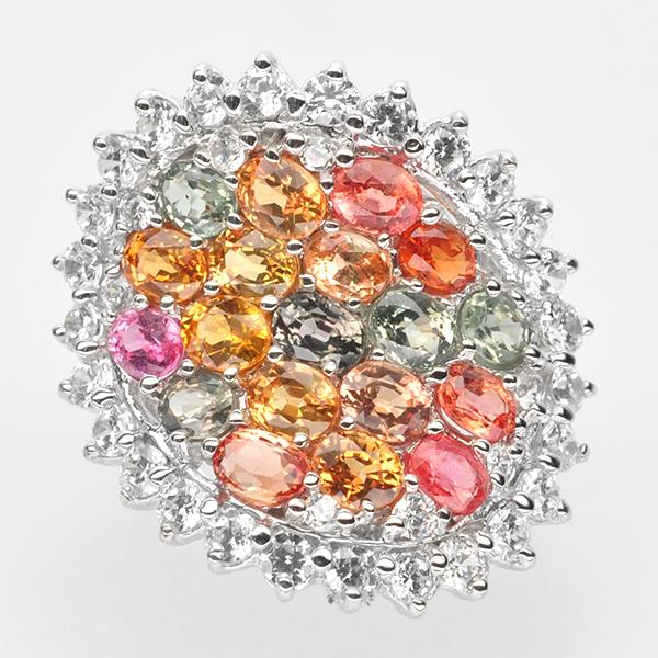 แหวนพลอยแท้ แหวนเงินแท้925 พลอยแซฟไฟร์แท้ สีสันสดใส ล้อมด้วยเพชร cz