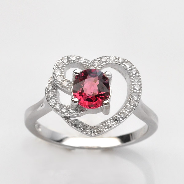 แหวนพลอยแท้แหวนเงิน925 พลอย ทัวร์มาลิน ประดับเพชร CZ ชุบทองคำขาว
