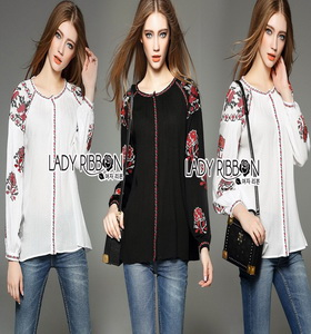 ady Ribbon Cotton Blouse เสื้อปักลายดอกไม้
