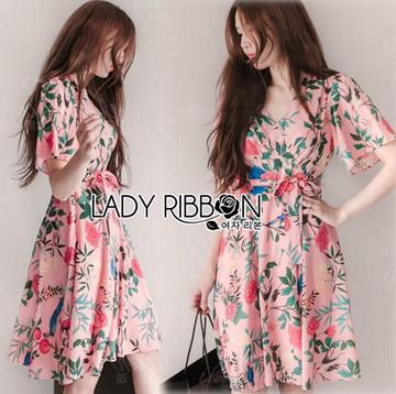 Lady Ribbon เสื้อผ้าเกาหลี LR04140716 &#x1F380 Lady Ribbon's Made &#x1F380 Gucci Sweet Natural Floral Printed Mini Pink Dress เดรสสีชมพูพิมพ์ลายดอกไม้