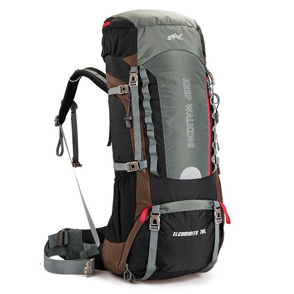 DF02 กระเป๋าเดินทาง AONIJIE สีน้ำตาลเทา ขนาดจุสัมภาระ 70+5 ลิตร (เสริมโครง)