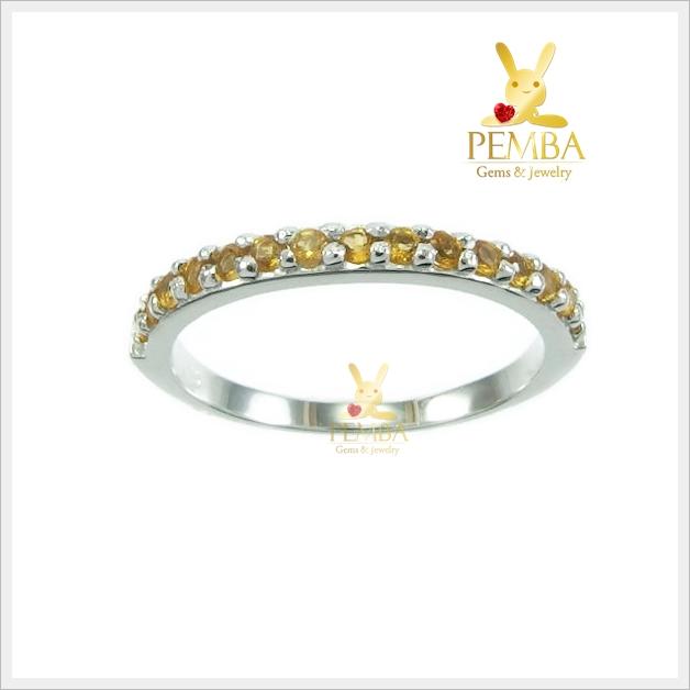 แหวนซิทริน เงินแท้ ชุบทองคำขาว