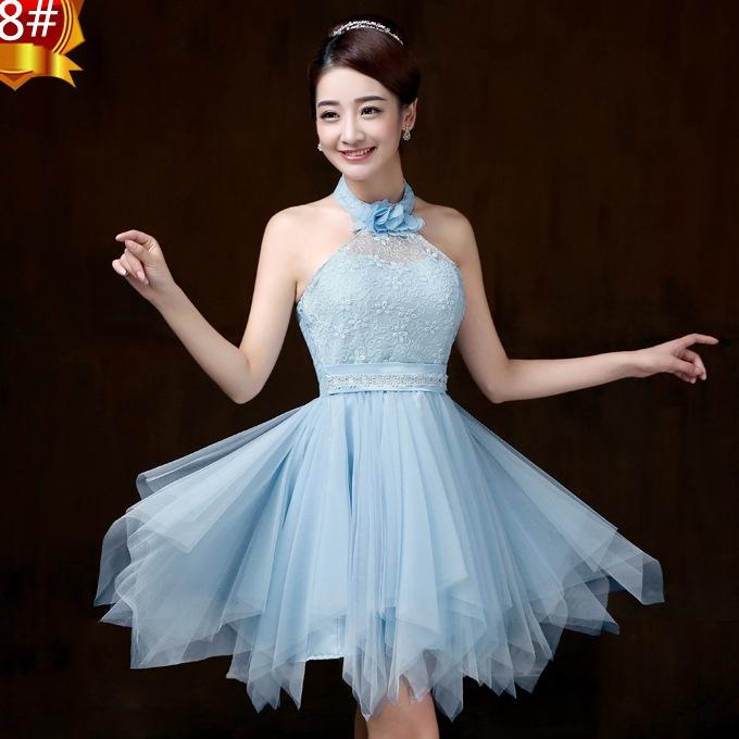 ชุดราตรีสั้น สีฟ้า คล้องคอ สวยๆ แนวหวาน น่ารัก
