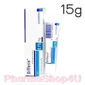 Differin Adapalene Gel 0.1% 15g ดิฟเฟอริน เจล ใช้ทารักษาสิวอุดตัน สิวอักเสบ ในระยะที่เป็นน้อยถึงปานกลาง