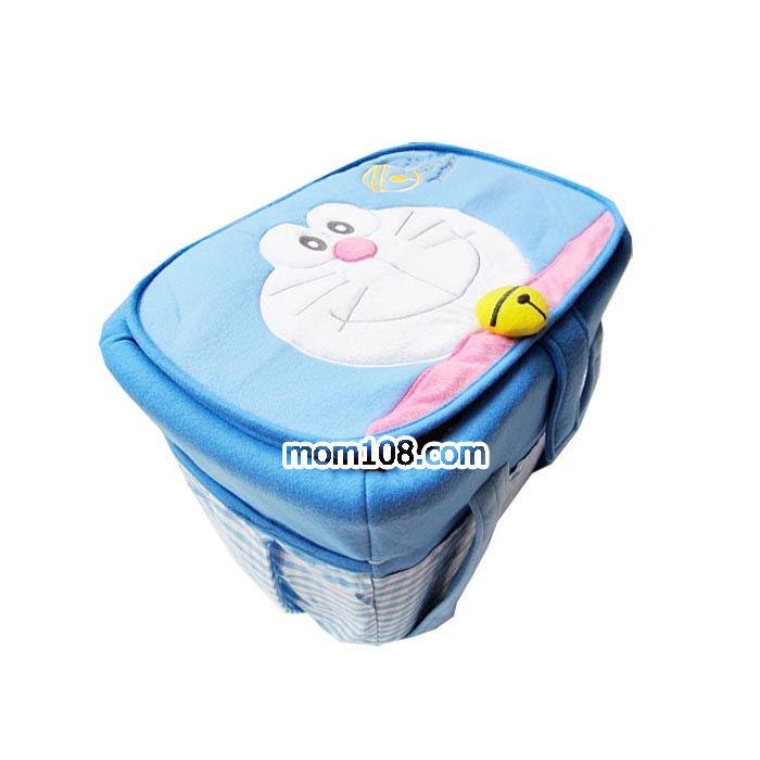 กระเป๋าถือใส่สัมภาระเด็ก (โดเรมอน) สีฟ้า ขนาดใหญ่ 35x45x27cm. มีฝาปิด