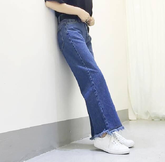 กางเกงยีนส์ ขายาว ทรงกระบอก สียีนส์
