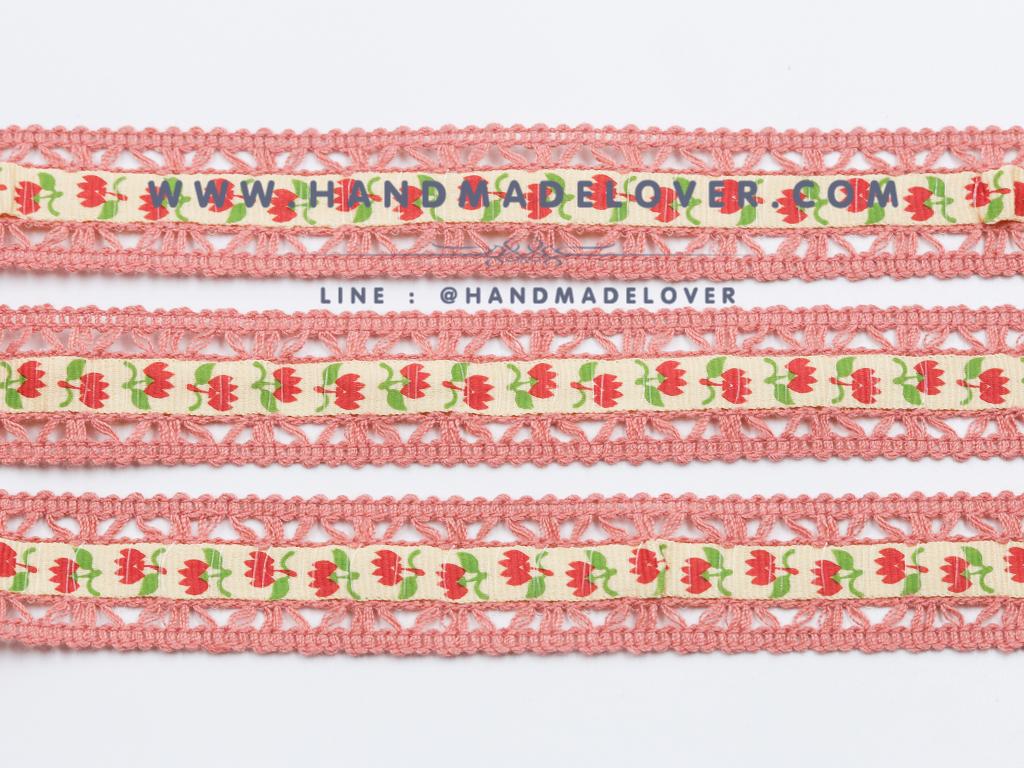 ผ้าลูกไม้ สีชมพู พิมพิ์ลายดอกไม้ ขนาด 2 ซม.