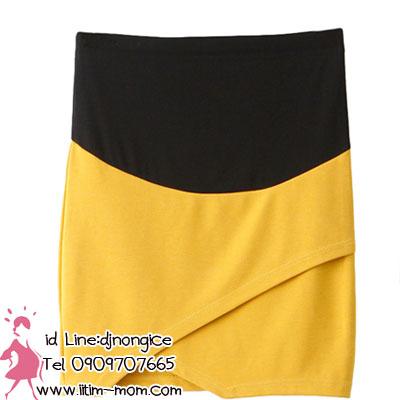 กระโปรงคลุมท้องสีเหลืองผ้ายืด มีผ้ารองรับหน้าท้อง และผ้าพยุงครรภ์ค่ะ