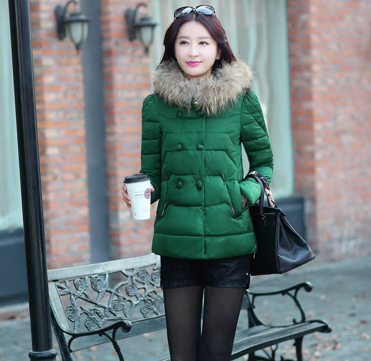(กาพจริง) เสื้อโค้ทกันหนาว ผ้าร่ม ซิปหน้า สีเขียว **สินค้าจริงไม่มีขนสัตว์ที่คอ**