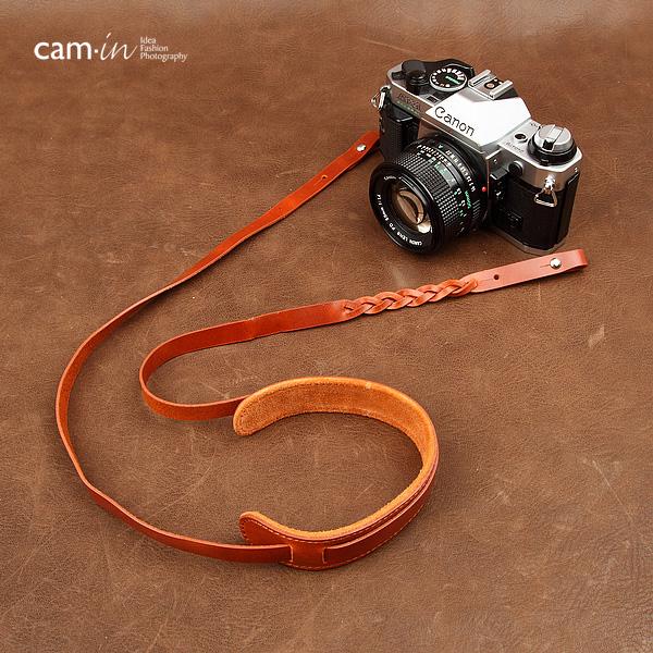 สายคล้องกล้องหนังแท้สวยๆ Cam-in สำหรับ Mirrorless Leica สีน้ำตาลเหลือง