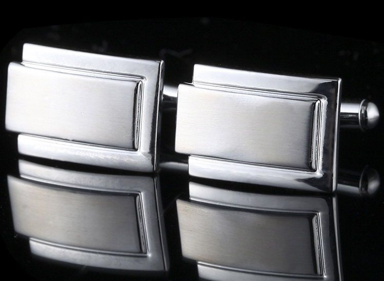 I1501 CUFF LINKS สี่เหลี่ยมผื่นผ้าขาวเงิน ล้อมด้วยขอบเงิน