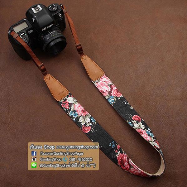 สายคล้องกล้องเก๋ๆ Flower black tone