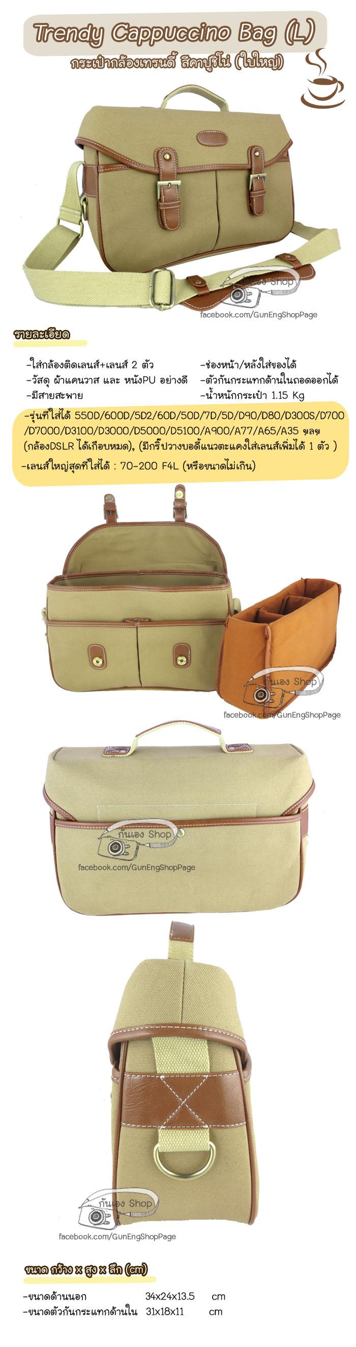 กระเป๋ากล้อง Trendy Bag Cappuccino (L)