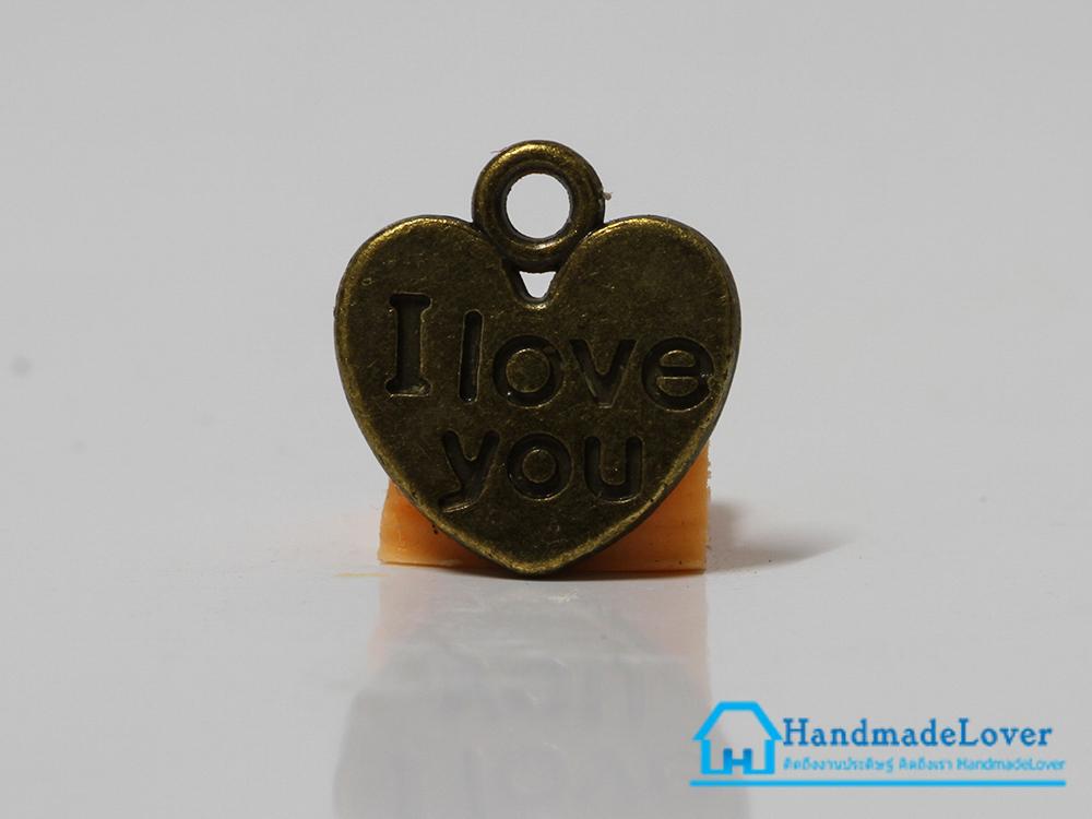 จี้วินเทจ โลหะ สีทองรมดำ รูปหัวใจ I Love You
