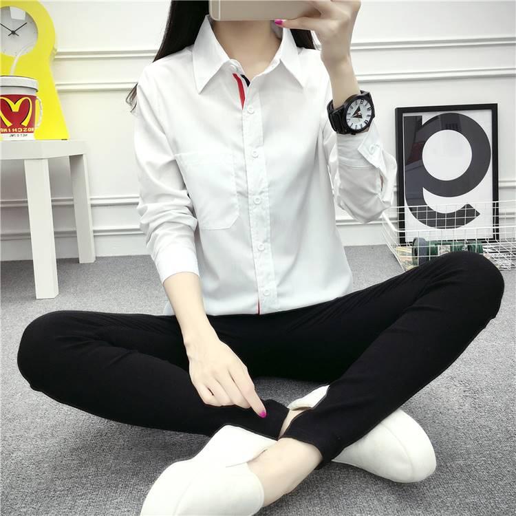เสื้อแฟชั่น คอปกเชิ๊ต แขนยาว แขนลายแถบ สีขาว