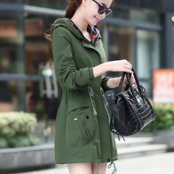 เสื้อกันหนาวผู้หญิงแฟชั่นเกาหลี สีเขียวทหาร แจ็คเก็ตกันลมฮู้ดลายสก๊อต