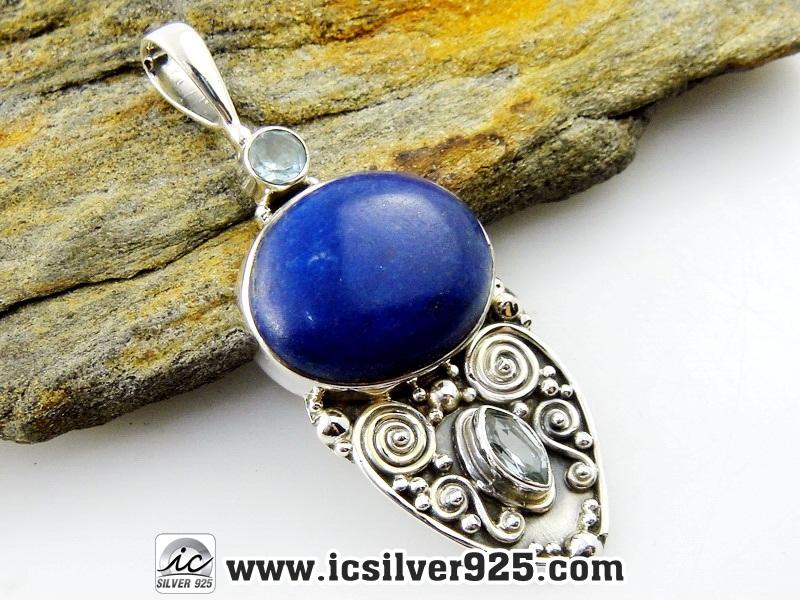 ▽ลาพิส ลาซูลี่ (Lapis Lazuli) และโทพาส Blue Topaz จี้เงินแท้ 925 (12g)
