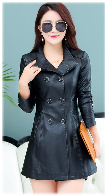 เสื้อโค้ทกันหนาวผู้หญิง เสื้อกันหนาวแฟชั่น หนัง PU สีดำ ตัวยาวคลุมสะโพก