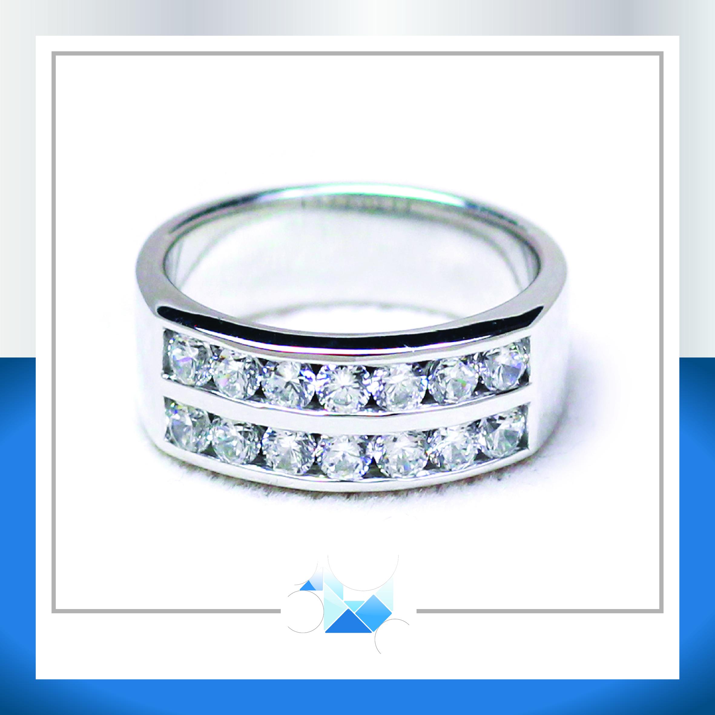 แหวนเงินแท้ เพชรสังเคราะห์ ชุบทองคำขาว รุ่น RG1524 SkyLine