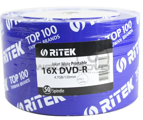 RiTEK DVD-R 16X Printable (50 pcs/Plastic Wrap)