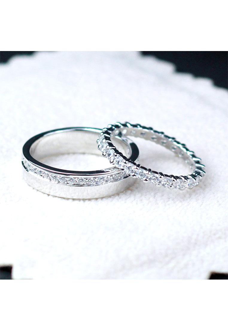 แหวนคู่รักเงินแท้ เพชรสังเคราะห์ ชุบทองคำขาว รุ่น LV14701428 Subway Bar & Eternity
