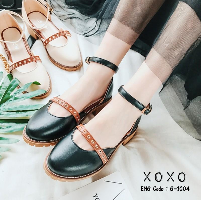 รองเท้าคัทชูรัดข้อสีดำ ทรงเว้าข้าง สไตล์วินเทจ (สีดำ )