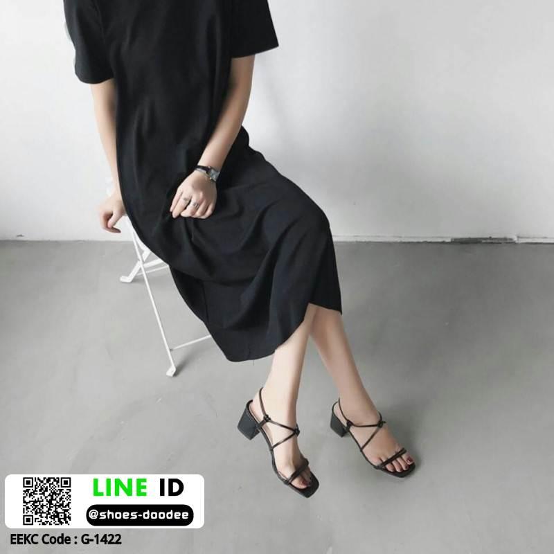 รองเท้าส้นสูงรัดส้น งานเกาหลี หนังPU G-1422-BLK [สีดำ]
