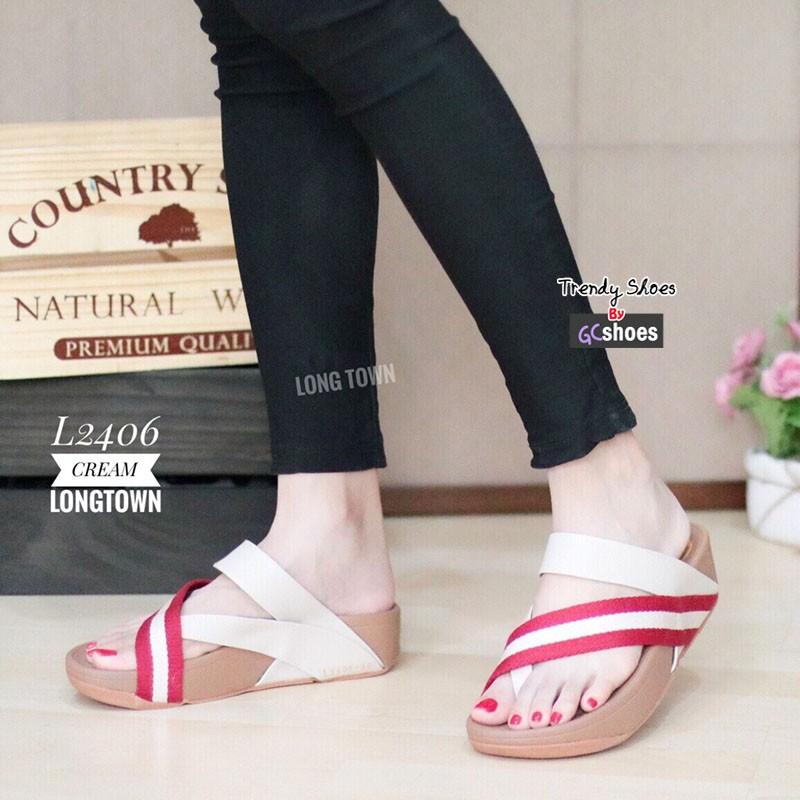 รองเท้าแตะเพื่อสุขภาพสีครีม แบบคีบนิ้วโป้ง สไตล์ FITFLOP (สีครีม )