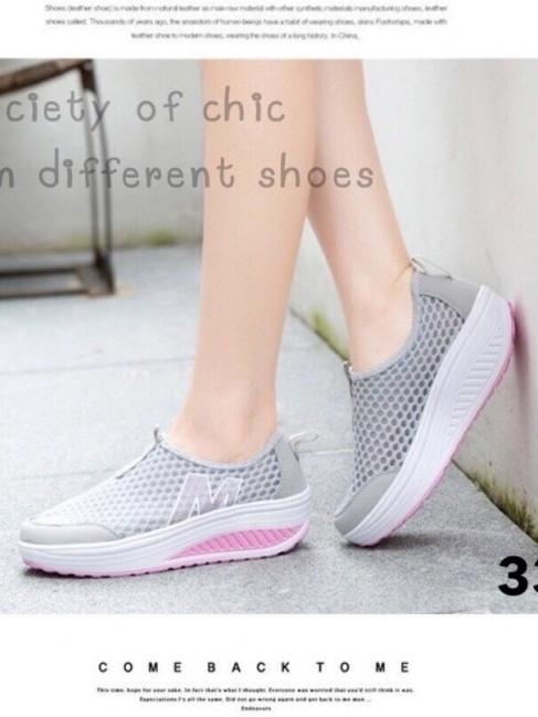รองเท้าผ้าใบเสริมส้น Sport Girl (สีเทา )