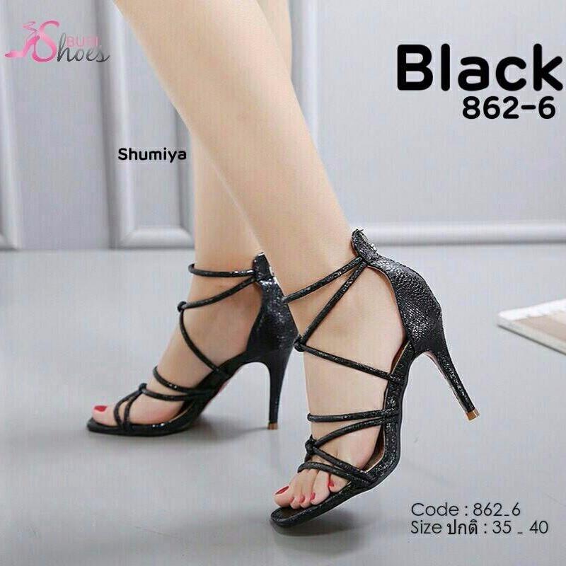 รองเท้าส้นเข็มรัดข้อสีดำ วัสดุ pu cracked metallic (สีดำ )