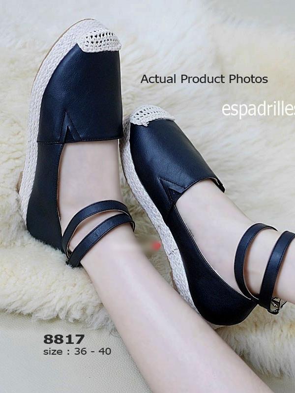 รองเท้าลำลอง สไตล์Espadrelles แนววินเทจ (สีดำ )