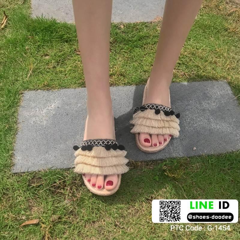 รองเท้าแตะสไตล์โบฮีเมียน แต่งพู่ G-1454-APR [สีแอปริคอท]