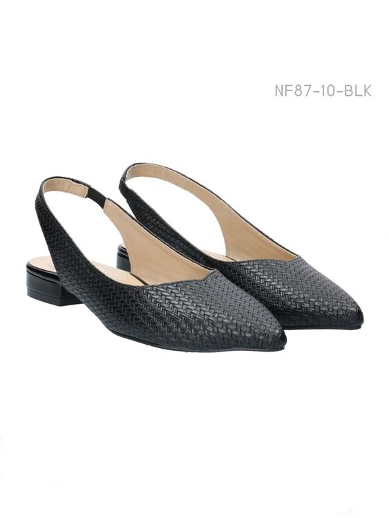 รองเท้าส้นเตี้ย หัวแหลม (สีดำ)