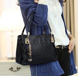 พร้อมส่ง กระเป๋าถือและสะพายข้าง เช็ต 3 ใบ ลาย O ผู้หญิงแฟชั่นเกาหลี Fashion รหัส NA-708 สีดำ