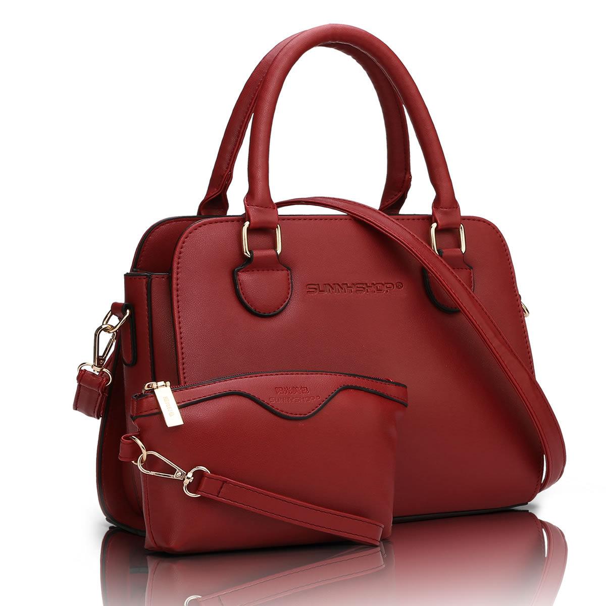 พร้อมส่ง กระเป๋าถือและสะพายข้าง หรูคุณนาย เช็ต 2 ใบ แฟชั่นเกาหลี Sunny-671 สีไวน์แดง