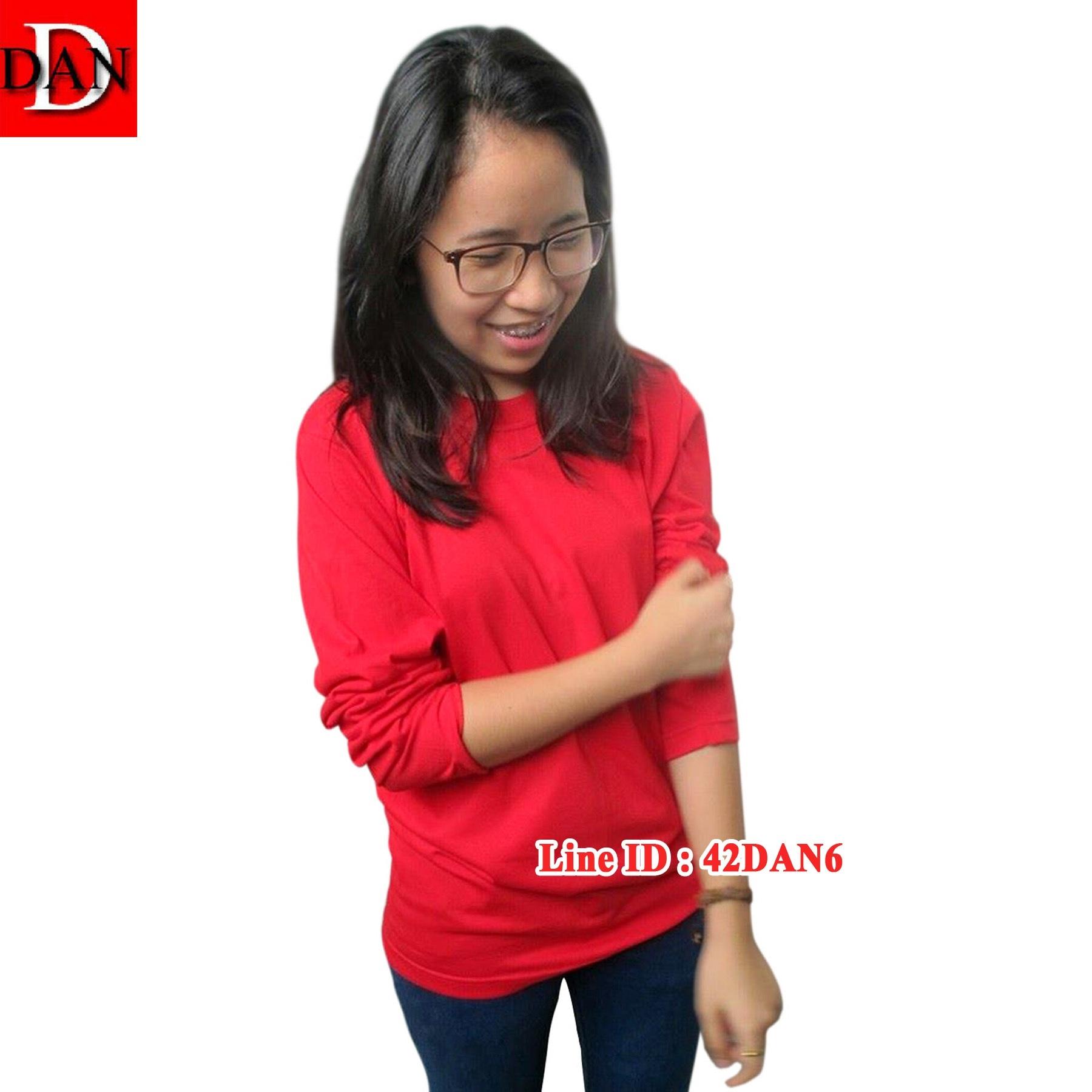 เสื้อแขนยาว คอลกม สีแดง