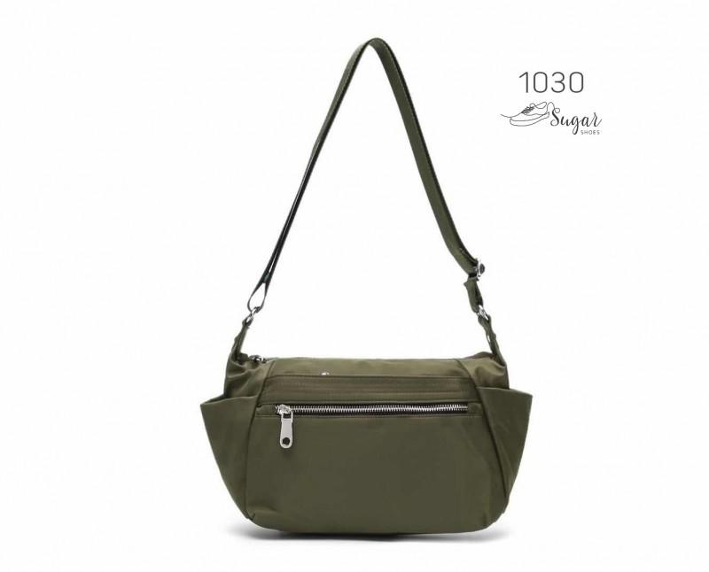 พร้อมส่ง กระเป๋าสะพาย Crossbody ผ้าไนล่อน-1030 [สีเขียว]
