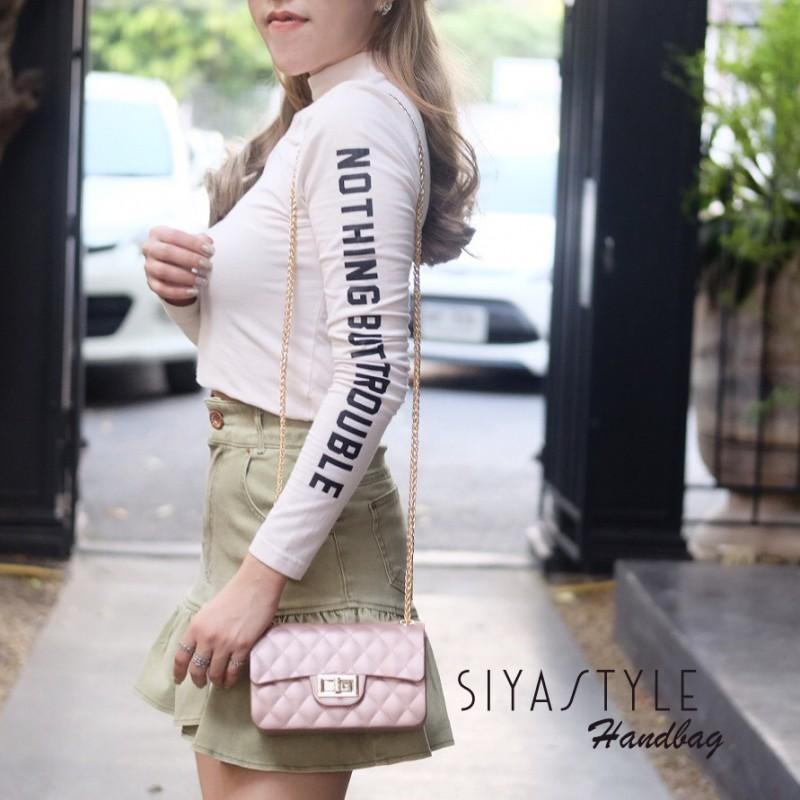 กระเป๋าสะพายแฟชั่น กระเป๋าสะพายข้างผู้หญิง งานสิลิโคนนิ่ม สายโซ่ทอง New-Mini-Toy [สีนู๊ด ]