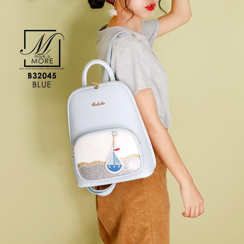 กระเป๋าสะพายเป้กระเป๋าถือ เป้แฟชั่นนำเข้าแบรนด์ BEIBAOBAO ดีไซน์น่ารัก B32045-BLU (สีน้ำเงิน)