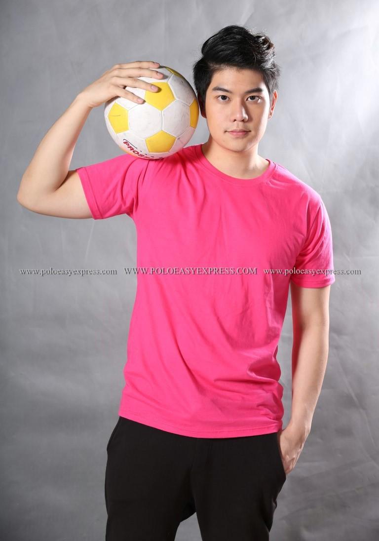 3XL เสื้อยืด สีชมพู Pinky คอกลม แขนสั้น Size 3XL