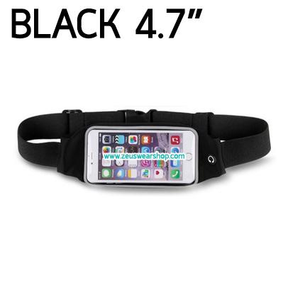 กระเป๋าคาดเอว วิ่ง กันน้ำ สีดำ Touch Screen หน้าจอ 4.7 นิ้ว