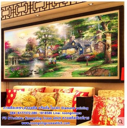 วิวหมู่บ้าน ภาพติดเพชร ครอสติชคริสตรัล โมเสก Diamond painting