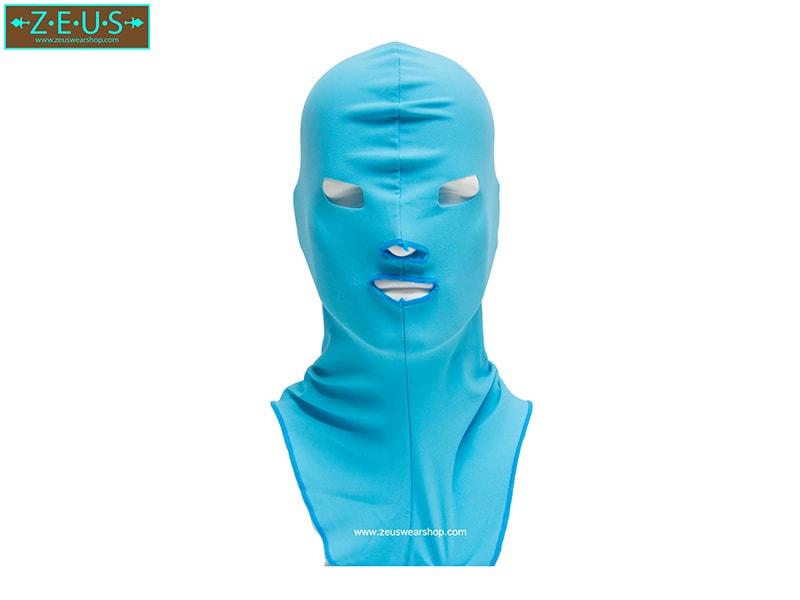 โม่งคลุมหัว สีฟ้า แบบปิดทั้งหน้า ป้องกันแดด ป้องกันรังสี UV