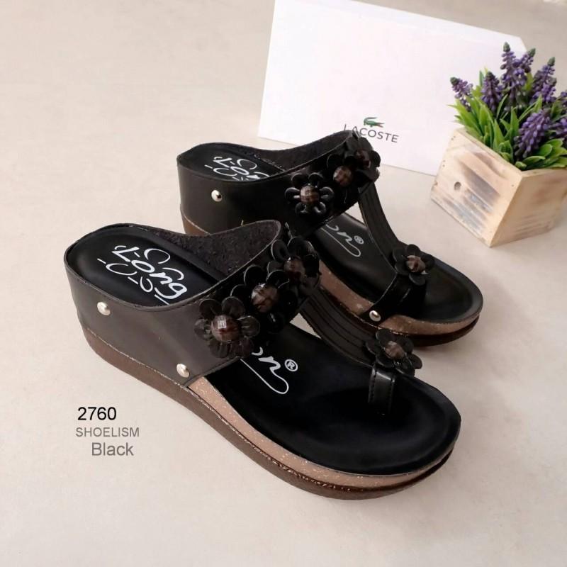 รองเท้าแตะส้นเตารีด แบบคีบ แต่งดอกไม้ (สีดำ )